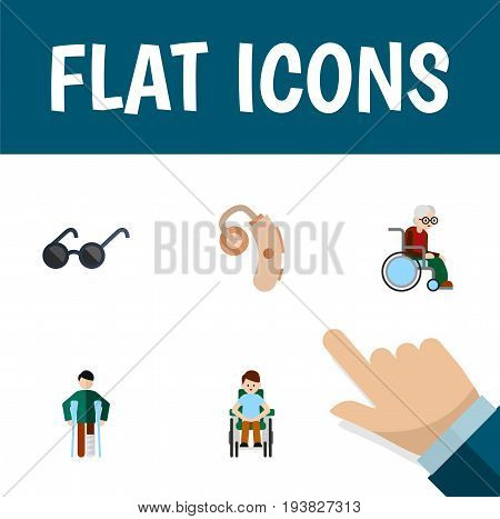 Flat Icon Handicapped Set Of Wheelchair, Audiology, Spectacles And Other Vector Objects. Also Includes Spectacles, Disabled, Hearing Elements.