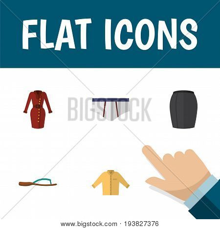 Flat Icon Garment Set Of Beach Sandal, Banyan, Clothes Vector Objects. Also Includes Skirt, Garment, Apparel Elements.