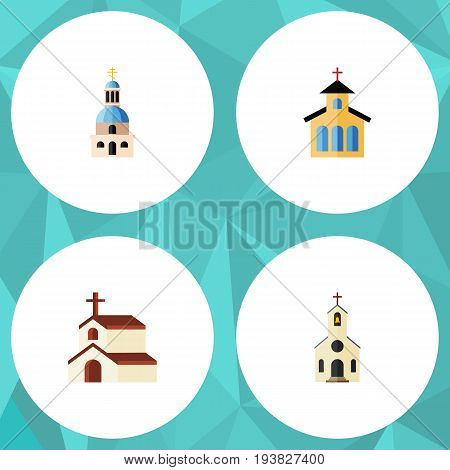 Flat Icon Christian Set Of Building, Religion, Catholic And Other Vector Objects. Also Includes Building, Catholic, Church Elements.