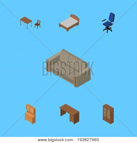 Isometric Furniture Set Of Bedstead, Couch, Chair And Other Vector Objects. Also Includes Wardrobe, Couch, Sofa Elements.