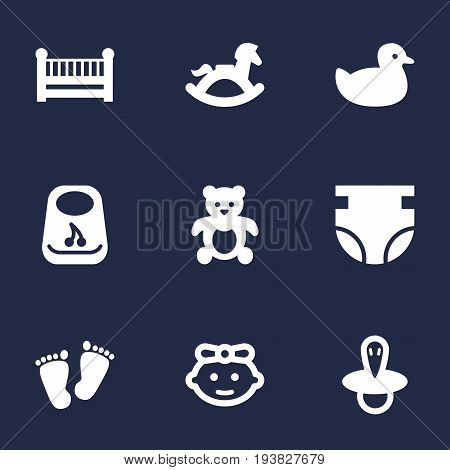 Set Of 9 Kid Icons Set.Collection Of Cot, Breastplate, Duck And Other Elements.