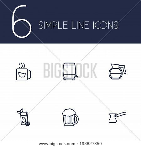 Set Of 6 Beverages Outline Icons Set.Collection Of Mojito, Coffeepot, Beer And Other Elements.