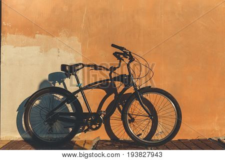 Urban Bicycle Parked Near The Wall Lifestyle People Transport Concept
