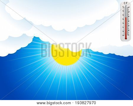 Cartoon Style Background with Sun Clouds and Weather Thermometer