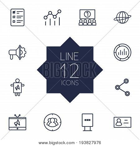 Set Of 12 Advertising Outline Icons Set.Collection Of Worker, Social Media Ads, Tv And Other Elements.