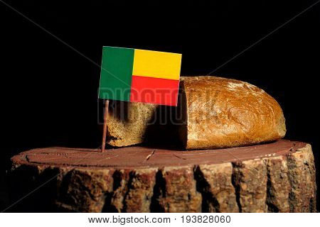 Benin Flag On A Stump With Bread Isolated