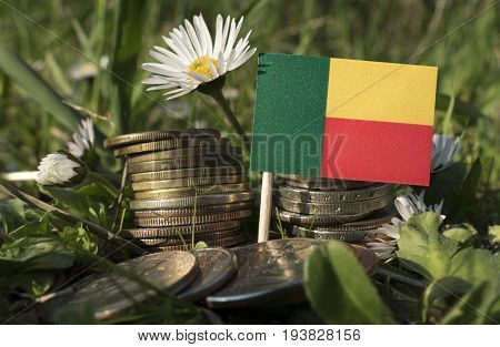 Benin Flag With Stack Of Money Coins With Grass And Flowers