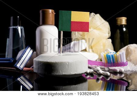 Benin Flag In The Soap With All The Products For The People Hygiene