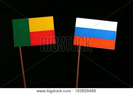 Benin Flag With Russian Flag Isolated On Black Background