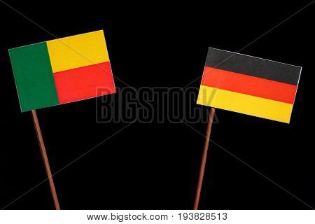 Benin Flag With German Flag Isolated On Black Background