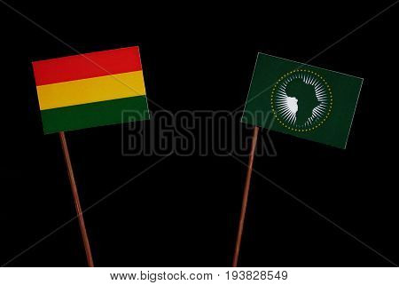 Bolivian Flag With African Union Flag Isolated On Black Background