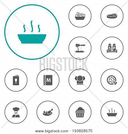Set Of 12 Restaurant Icons Set.Collection Of Book, Cook, Vermicelli And Other Elements.