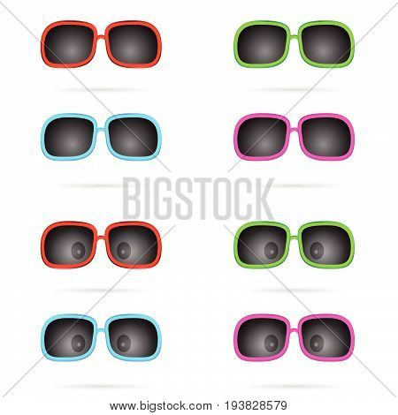 Sunglasses Colored Wiyh Eyes Set Illustration