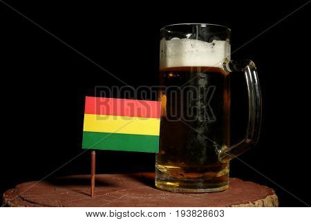 Bolivian Flag With Beer Mug Isolated On Black Background