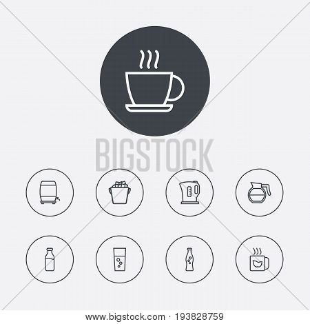 Set Of 9 Drinks Outline Icons Set.Collection Of Wine Cask, Dairy, Soda And Other Elements.