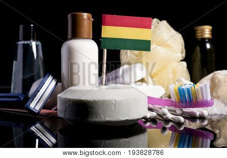 Bolivian Flag In The Soap With All The Products For The People Hygiene