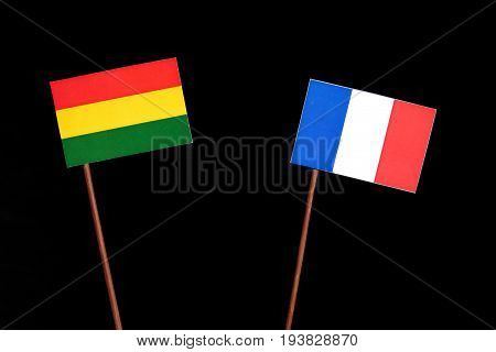 Bolivian Flag With French Flag Isolated On Black Background