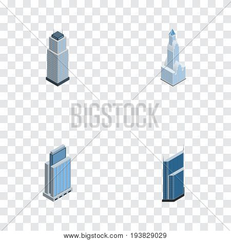 Isometric Construction Set Of Cityscape, Urban, Residential And Other Vector Objects. Also Includes Residential, Urban, Skyscraper Elements.