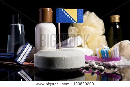 Bosnia And Herzegovina Flag In The Soap With All The Products For The People Hygiene