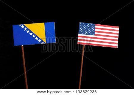Bosnia And Herzegovina Flag With Usa Flag Isolated On Black Background