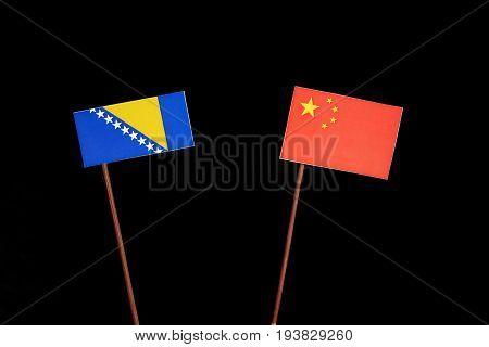 Bosnia And Herzegovina Flag With Chinese Flag Isolated On Black Background