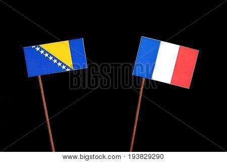 Bosnia And Herzegovina Flag With French Flag Isolated On Black Background