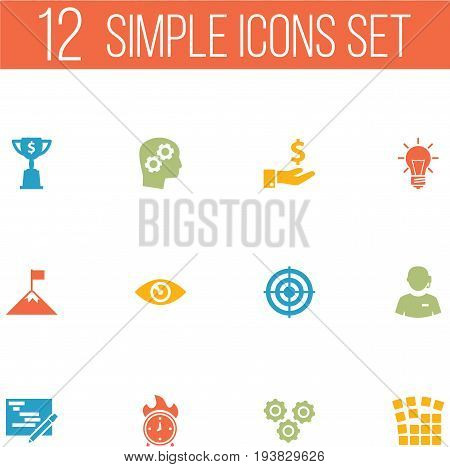 Set Of 12 Business Icons Set.Collection Of Time In Fire, Gear, Bulb And Other Elements.