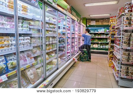 SEOUL, SOUTH KOREA - CIRCA JUNE, 2017: inside a grocery store in Seoul. CU is a convenience store franchise chain in South Korea.