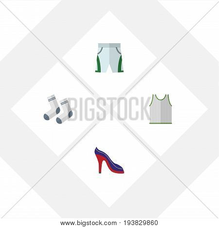 Flat Icon Clothes Set Of Trunks Cloth, Foot Textile, Singlet And Other Vector Objects. Also Includes Shoes, Socks, Foot Elements.