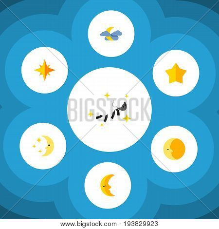Flat Icon Midnight Set Of Asterisk, Midnight, Starlet And Other Vector Objects. Also Includes Sky, Midnight, Night Elements.