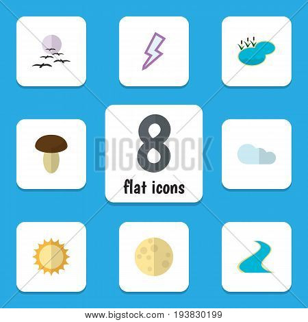 Flat Icon Bio Set Of Solar, Lunar, Lightning And Other Vector Objects. Also Includes Tributary, Moon, Overcast Elements.