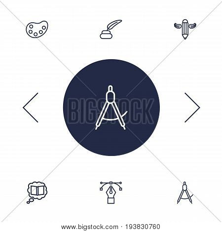 Set Of 6 Constructive Outline Icons Set.Collection Of Dividers, Bezier Curve, Knowledge And Other Elements.
