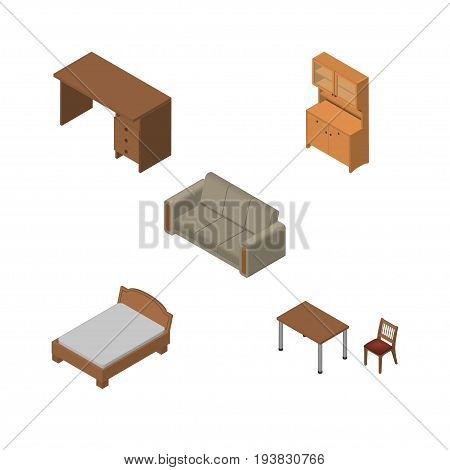 Isometric Furnishing Set Of Table, Cupboard, Bedstead And Other Vector Objects. Also Includes Furniture, Wardrobe, Couch Elements.