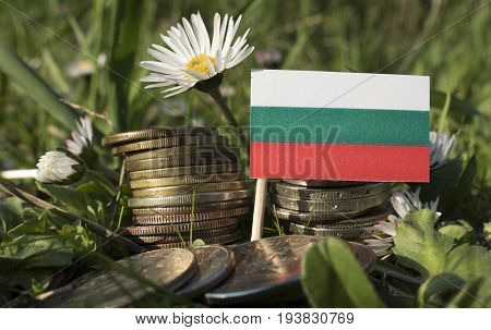 Bulgarian Flag With Stack Of Money Coins With Grass And Flowers