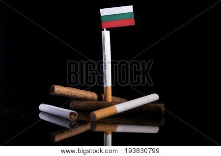Bulgarian Flag With Cigarettes And Cigars. Tobacco Industry Concept.
