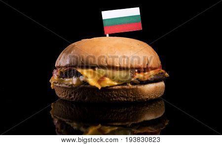 Bulgarian Flag On Top Of Hamburger Isolated On Black Background