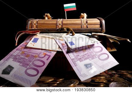 Bulgarian Flag On Top Of Crate Full Of Money