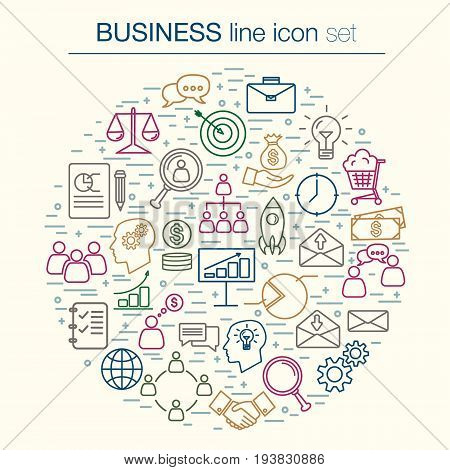 Unique collection of thin line bussines icon. Vector icon set.