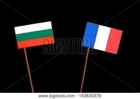 Bulgarian Flag With French Flag Isolated On Black Background