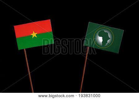 Burkina Faso Flag With African Union Flag Isolated On Black Background