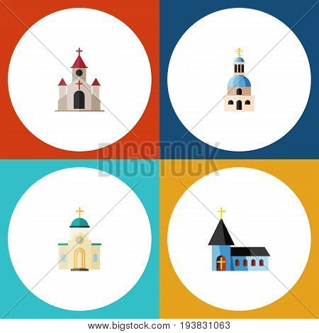 Flat Icon Church Set Of Traditional, Religious, Christian And Other Vector Objects. Also Includes Christian, Structure, Building Elements.