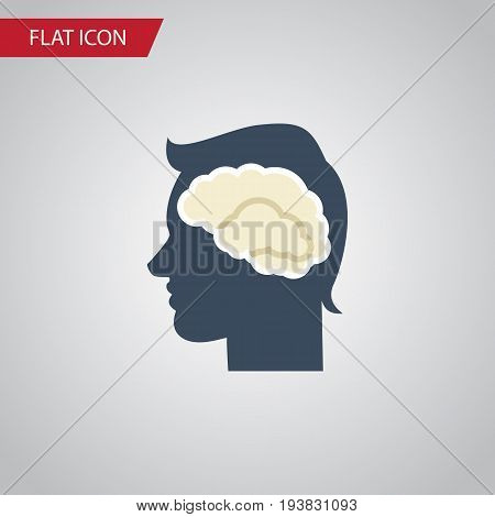 Isolated Intellect Flat Icon. Brainstorming Vector Element Can Be Used For Intellect, Brainstorming, Brain Design Concept.