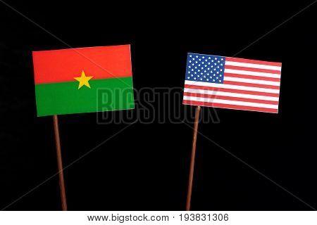 Burkina Faso Flag With Usa Flag Isolated On Black Background