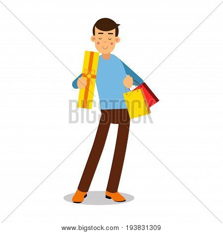 Young smiling blonde man in light blue pullover standing with with purchases cartoon character vector Illustration isolated on a white background