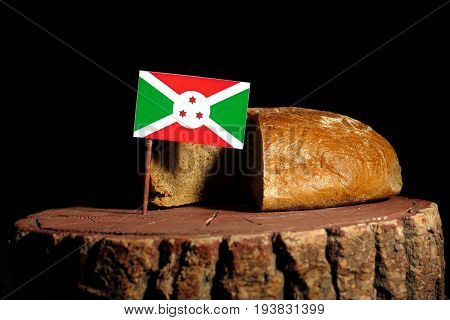 Burundi Flag On A Stump With Bread Isolated