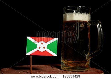 Burundi Flag With Beer Mug Isolated On Black Background