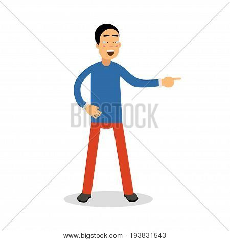 Young happy laughing man with tears cartoon character vector Illustration isolated on a white background