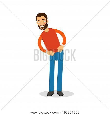 Young happy bearded man in red pullover standing and laughing with tears cartoon character vector Illustration isolated on a white background