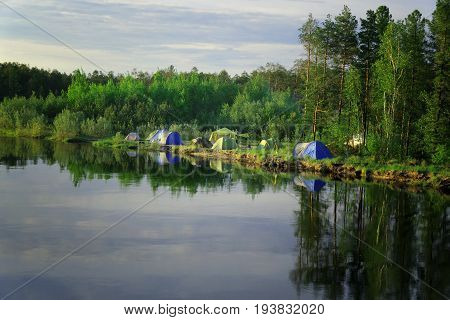 Great campground on the banks of Siberian rivers Vat-Egan