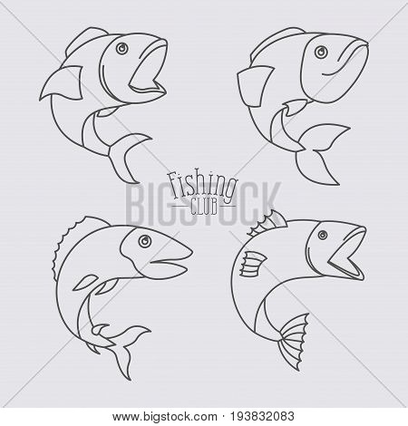 sketch silhouette types fish and logo text fishing club in center vector illustration